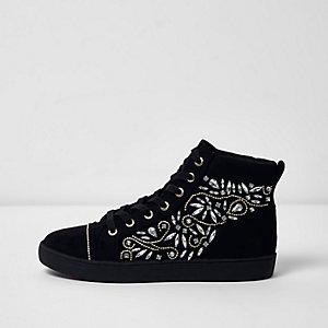Black embellished hi top lace-up sneakers