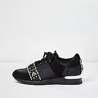 Black embellished runner trainers
