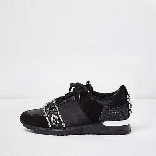 Black embellished runner sneakers