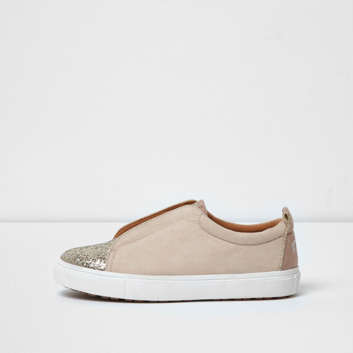 Light pink glitter slip on runner sneakers