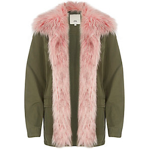 Khaki green with pink faux fur trim coat