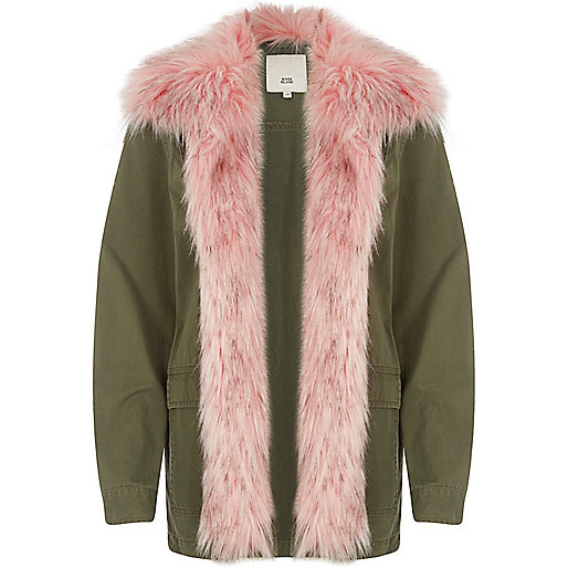 Khaki green with pink fur trim coat
