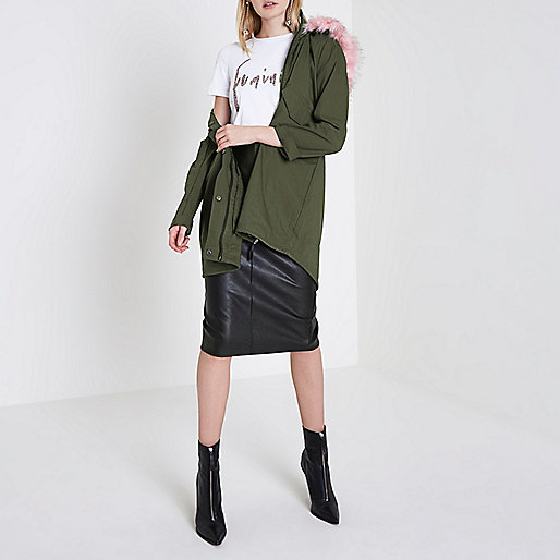 Khaki green pink faux fur collar parka