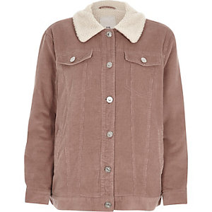 Pink corduroy fleece collar trucker jacket