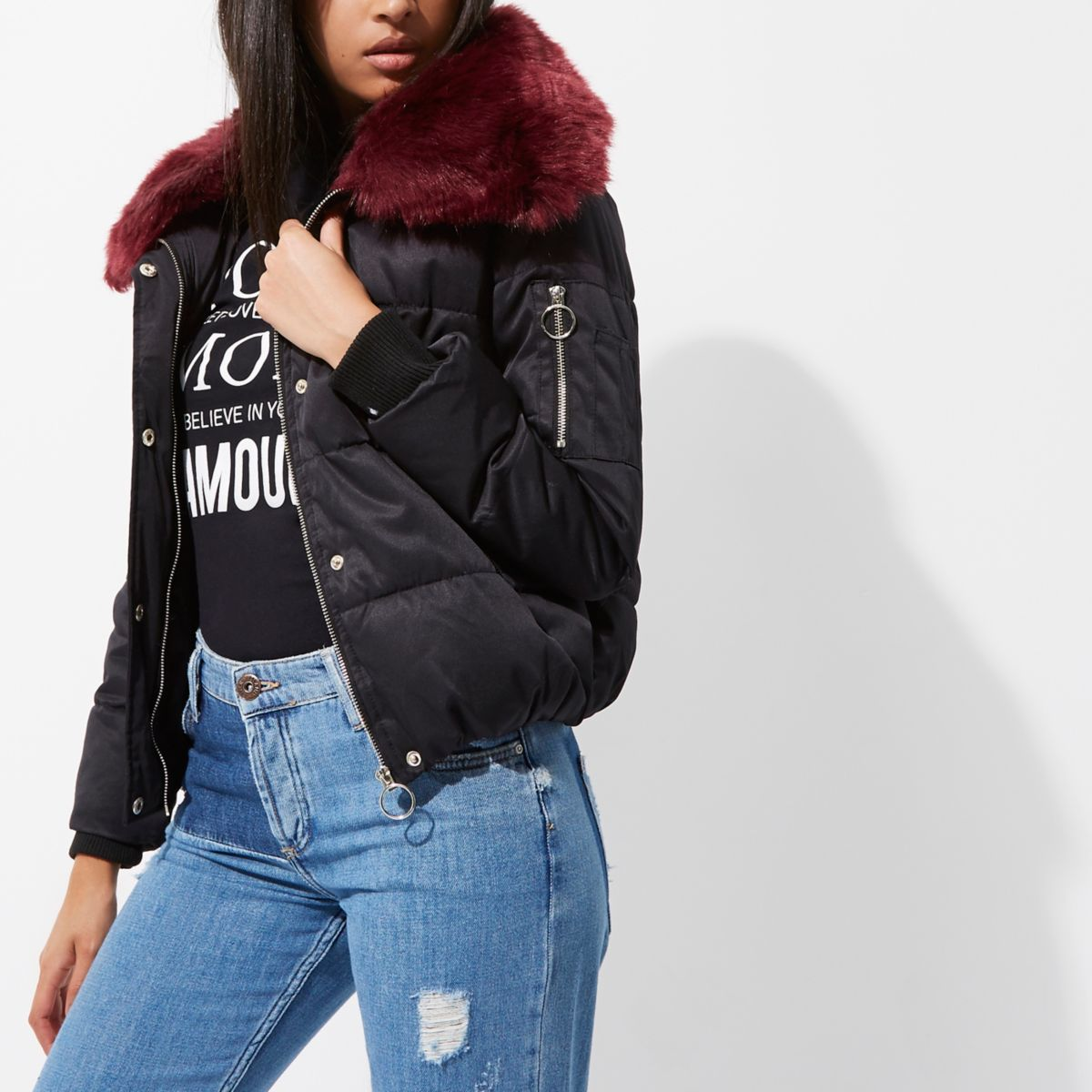 Black faux fur trim puffer jacket