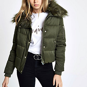 Khaki green faux fur collar puffer jacket