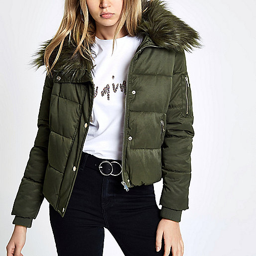 Khaki green faux fur collar puffer jacket