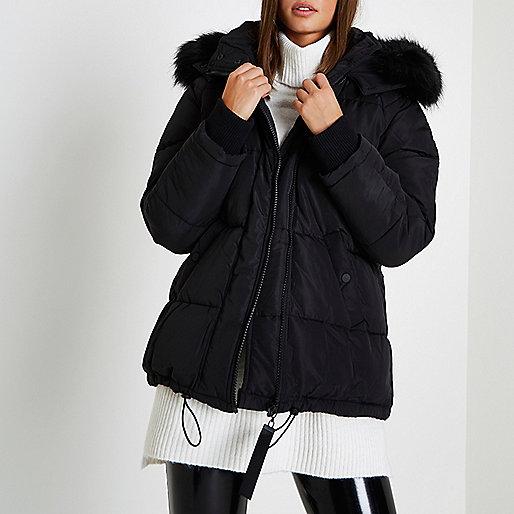 Black oversized puffer faux fur trim coat