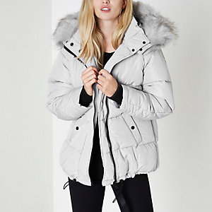 Light grey oversized faux fur puffer coat