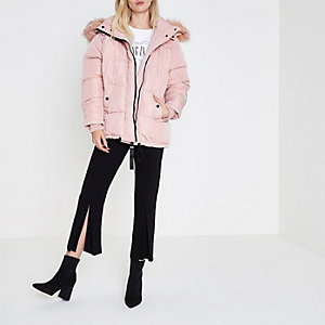 Pink faux fur hood oversized puffer jacket