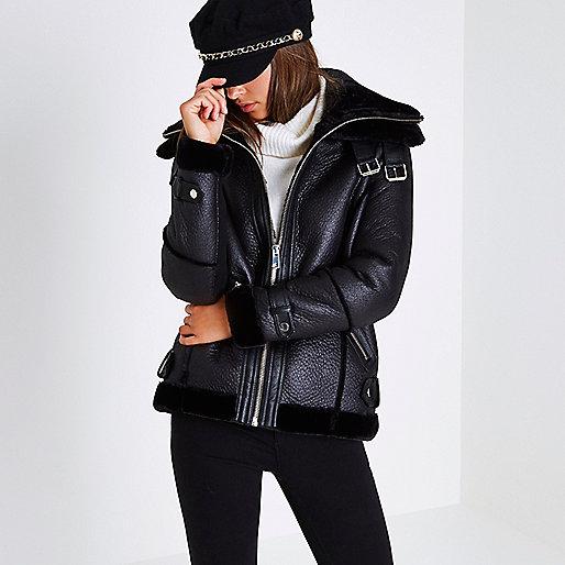 Black faux leather aviator jacket