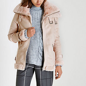 Pink faux fur trim aviator jacket