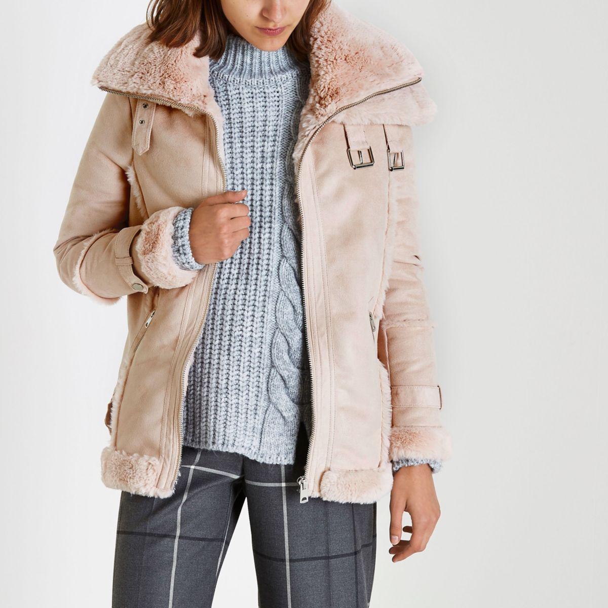 Pink faux fur trim aviator jacket