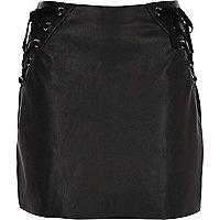 Black faux leather corset mini skirt