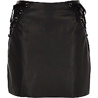 Black faux leather corset mini skirt