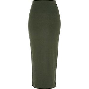 Khaki green jersey maxi skirt