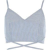 Blue stripe print strappy cami bralette