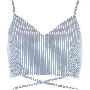 Blue stripe print strappy cami bralet