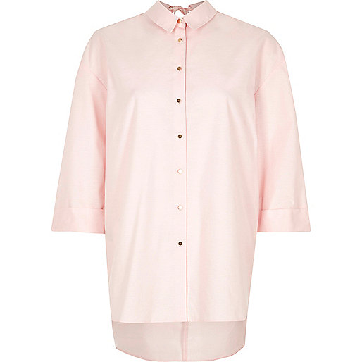 Pink open back oversized shirt