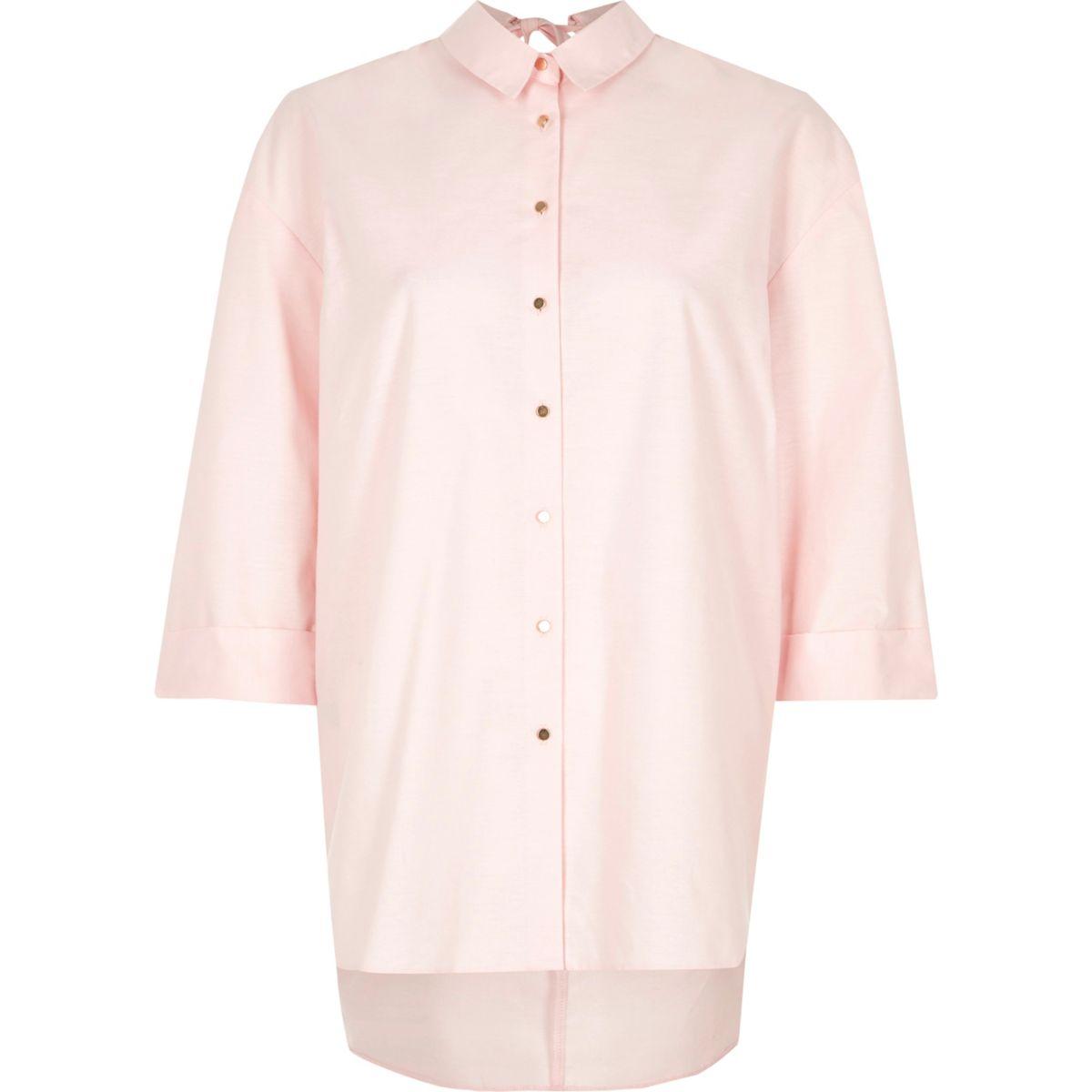 Pink open back oversized shirt