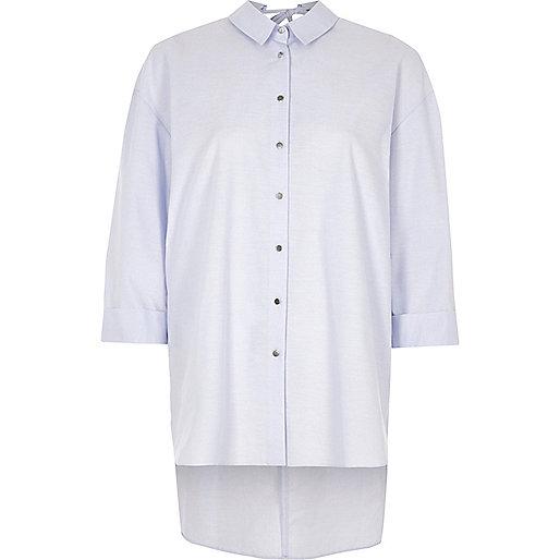 Blue open back oversized shirt