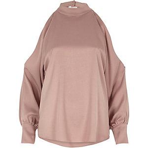 Pink choker neck open sleeve blouse