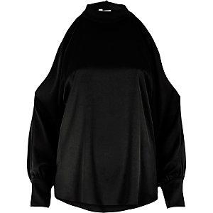 Black high neck open sleeve blouse