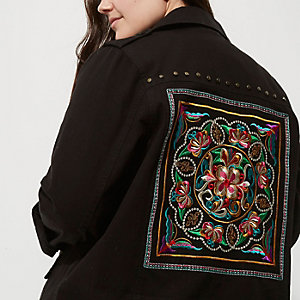 Plus black embellished back army jacket