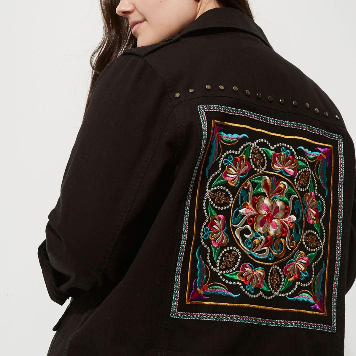 Plus black embellished back army jacket