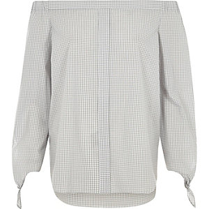 Grey check tie sleeve bardot shirt