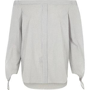 Chemise Bardot à carreaux gris et nœuds aux manches