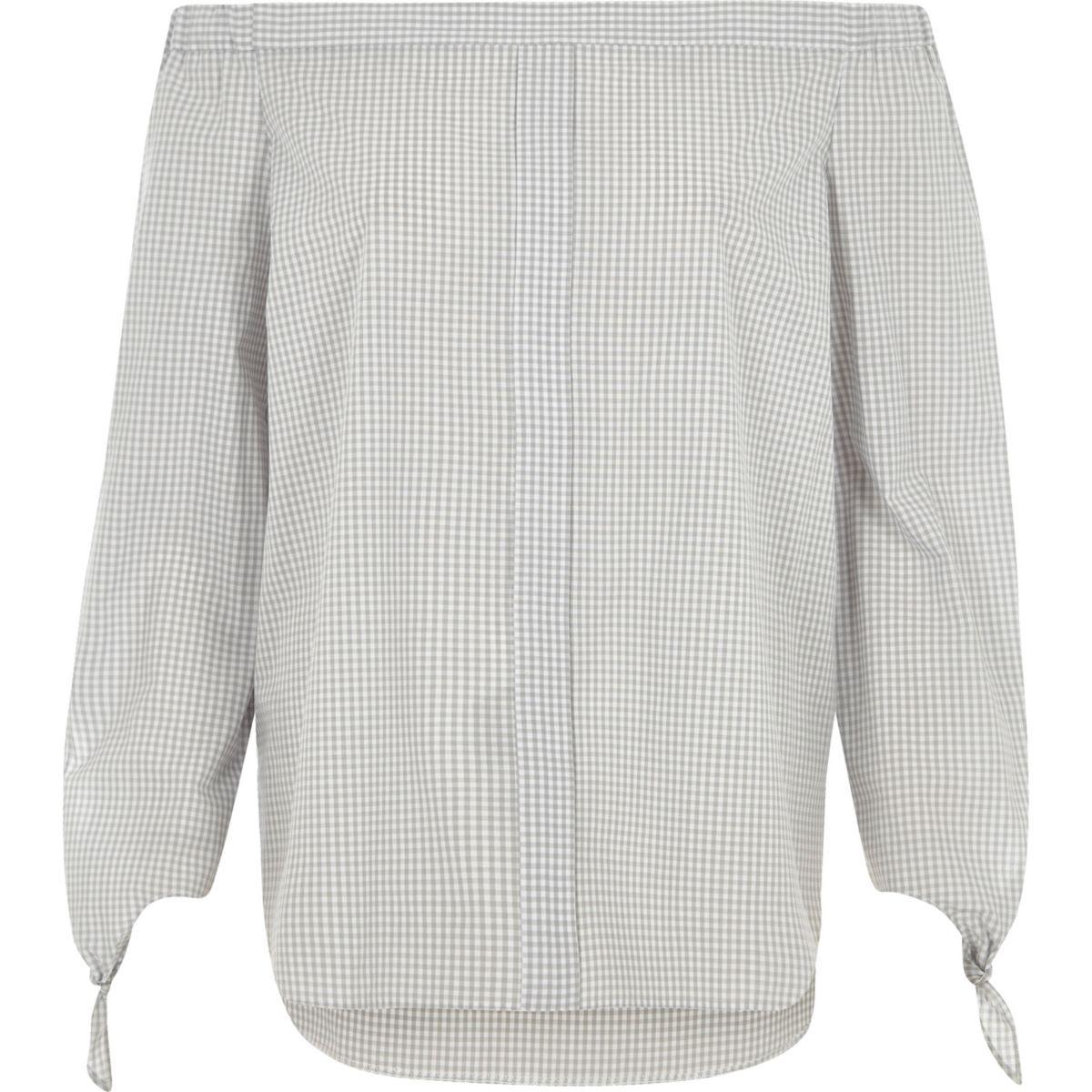 Grey check tie sleeve bardot shirt