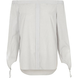 Grey stripe tie sleeve bardot shirt