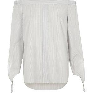 Chemise Bardot rayée grise avec nœuds aux manches