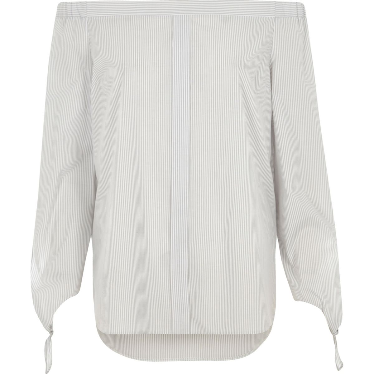 Grey stripe tie sleeve bardot shirt