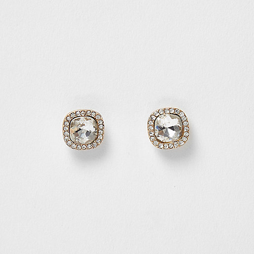 Gold tone rhinestone square stud earrings