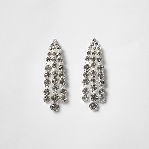 Silver tone rhinestone strand dangle earrings