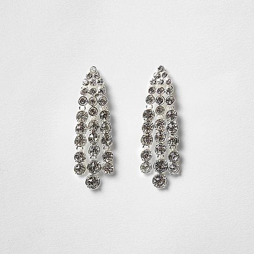 Silver tone rhinestone strand dangle earrings