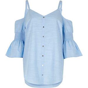 Light blue cold shoulder bell sleeve shirt