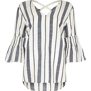 Blue stripe print flared sleeve top
