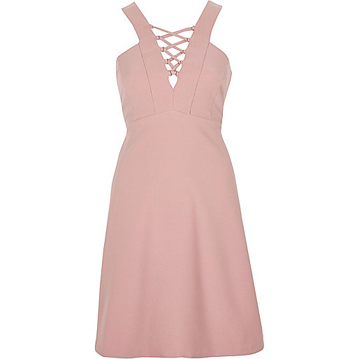 Light pink lace-up front skater dress