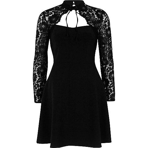 Black lace long sleeve choker skater dress