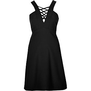 Black lace-up front skater dress