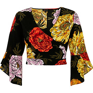 Black floral print frill sleeve wrap crop top