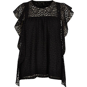 Black lace frill top