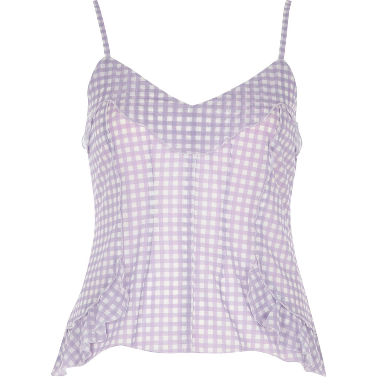 Purple gingham print mesh cami top