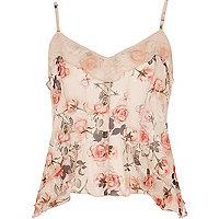 Pink floral print mesh frill cami top