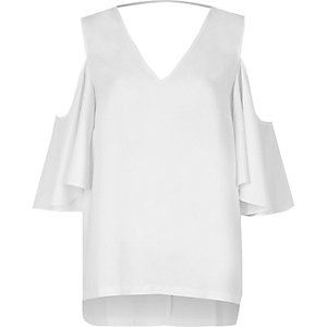 White frill sleeve cold shoulder top