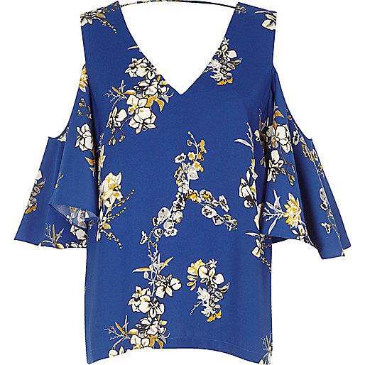 Blue floral print cold shoulder frill top