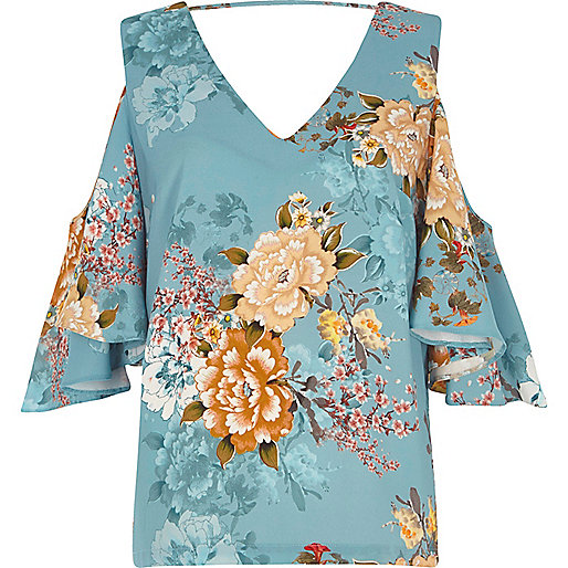 Blue floral print cold shoulder frill top
